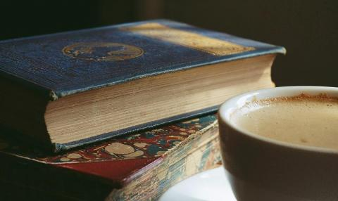 Old books and coffee
